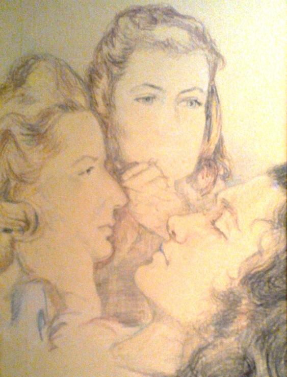 Hermina Morova (links) im KZ Theresienstadt – Zeichnung von Ema Blažková, 1942